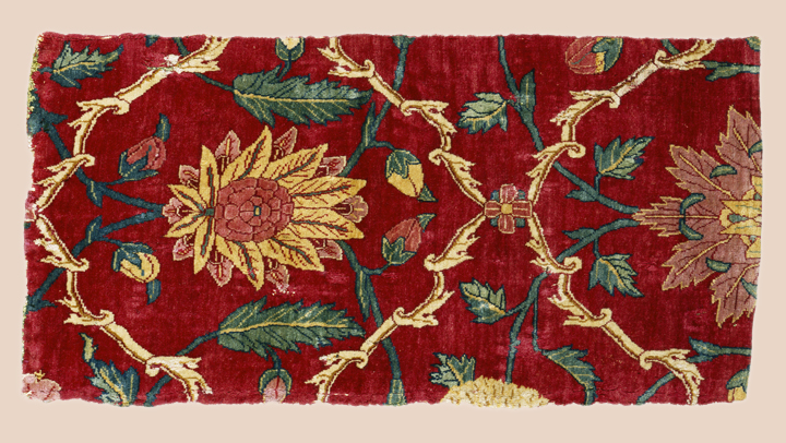 Fragment of a Mughal Court Carpet mid-17th C, Indian, Mughal edit w-web background